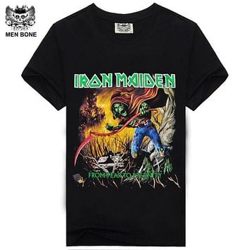 [Men bone] Iron Maiden Brand Black t shirt New Style Heavy Metal Streetwear Men's T-shirts Cotton Casual Short Sleeve TOP Tees