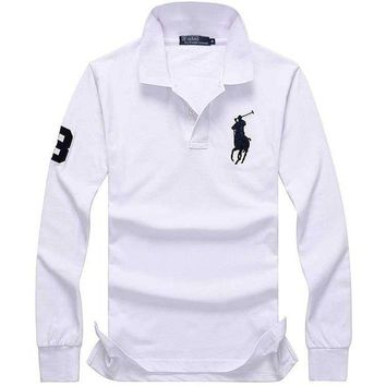 UCANUJ3V Hot Sale Ralph lauren MEN Long Sleeve Polo Shirt 100% COTTON TOP