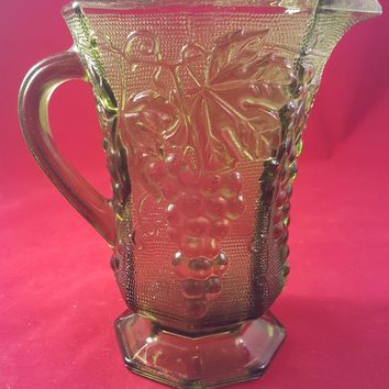 Anchor Hocking Vintage Green Pitcher with Grapes