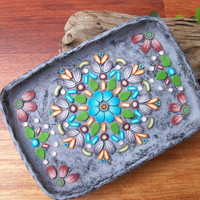 Polymer Clay Dish, mandala art tray, ring dish