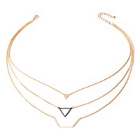 Geo Cutout Layered Necklace