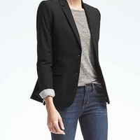 Long and Lean-Fit Inverted Collar Ponte Blazer | Banana Republic