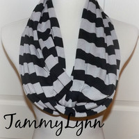 Black and Putty Gray Wide Stripe LONG Jersey Knit Infinity Scarf Ready to Ship! Summer Soft Jersey Knit Women's BEACH Accessories