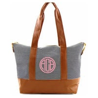 Monogrammed Striped Navy and White Shoulder Tote Free Personalization