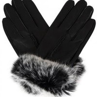 Elan Blanc Leather Gloves with Rabbit Fur - $19.99 - GearBuyer.com