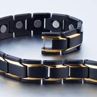 Unique Stainless Steel Mens Gold Black Power Element Bracelet with Magnets
