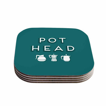 "Busy Bree ""Pot Head"" Teal Digital Coasters (Set of 4)"
