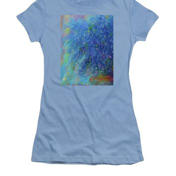 Blue Flowers Abstract - Women's T-Shirt (Athletic Fit)