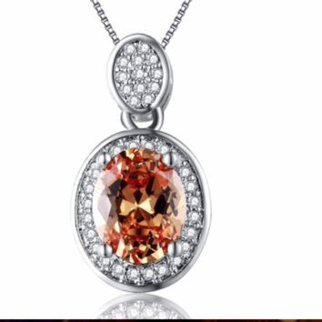 Oval Amber Jewelry 925 Silver Filled Vintage Necklaces & Pendants