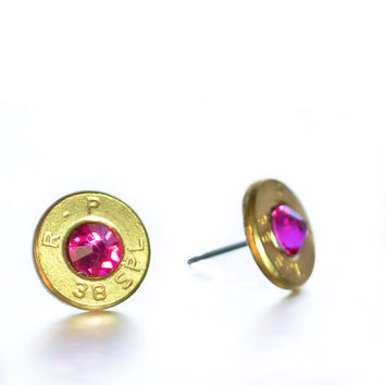Bullet Stud Earrings- Brass and Hot Pink