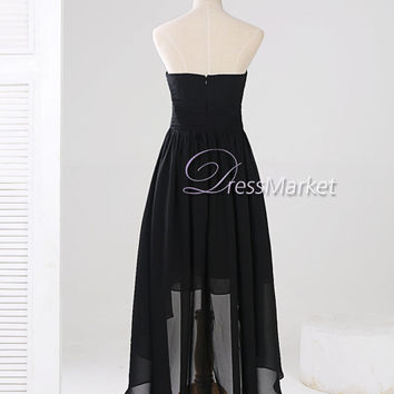 Sweetheart strapless Hi-Lo chiffon prom dress,Simple black evening dress,Hi-Lo sweetheart black bridesmaid dress,Summer dress,DressMarket097