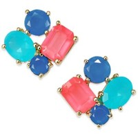 kate spade new york 14k Gold-Plated Multicolor Stone Cluster Stud Earrings | macys.com