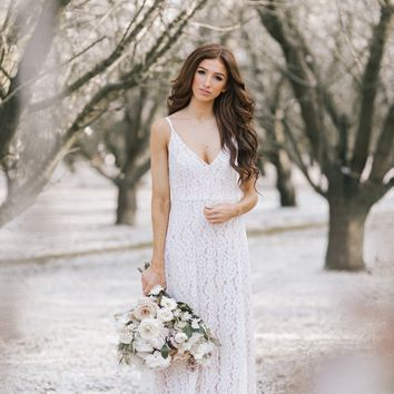Janelle White Lace Maxi Dress