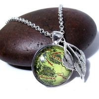Lord of the Rings Map Necklace and Earrings Set  by tiedyejedi