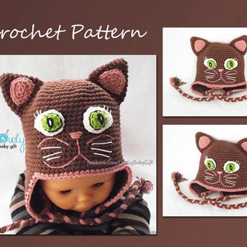 Earflap Hat Crochet Pattern, Girl Cat Hat, CP-305