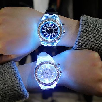led Flash Luminous, Personality trends women's, men's, 7 color light Wrist Watch
