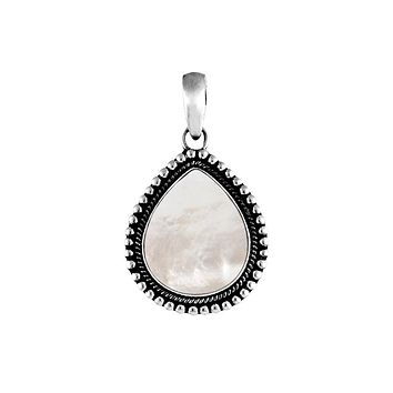 AP-1032-MOP Sterling Silver Beautiful Pear Shaped Pendant With Mother of Pearl Covered by Designer Granulated Rope