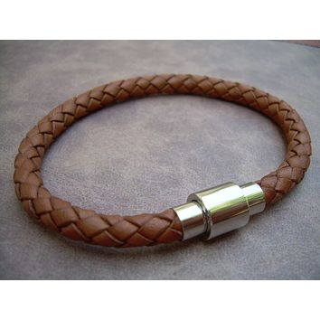 Mens braided Saddle Leather Bracelet with Stainless Steel Magnetic Clasp, Fathers Day, Mens Jewelry, Mens Bracelet, Leather Bracelet, Groom