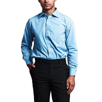Regular Fit Long Sleeve Dress Shirt - Sky Blue