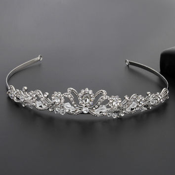 Womens Crown Hairband Vintage Crystal Bridal Tiara Hair Jewelry Wedding Accessories Women Party Pageant Jewelry Silver Plated