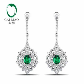 18KT White Gold 1.89 ct Natural Emerald 1.31 ct Full Cut Diamond Earrings
