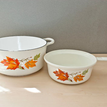 Vintage Descoware Enameled Cast Iron Cookware Dutch Oven and Saucepan Made in Belgium White Enamel with Fall Leaves