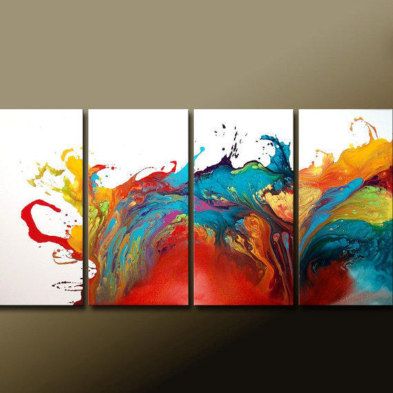 ABSTRACT Canvas Art Painting - Huge 4pc Original Custom Made to Order Modern Contemporary Fine Art Painting by Destiny Womack - dWo - 72x36