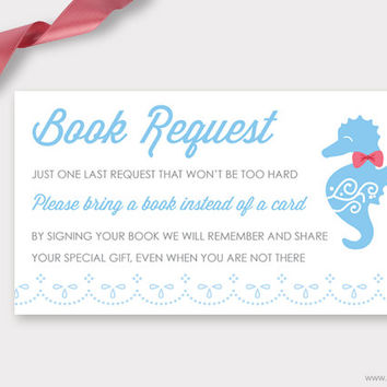 Seahorse Shower Book Request Printable, Baby Boy, Baby Shower Book Request Card, Bring a Book Instead of a Card Insert