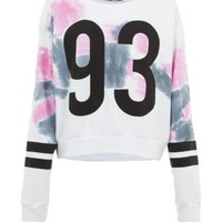 Teens Pink Tie Dye Baeball Sweater