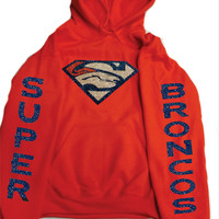Super Broncos Glittery Unisex Hoodie , super shinny  sparkle wont flake Denver Colorado Women  will love it!!