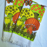 Vintage Cotton Kitchen Hand Towels Magic Mushrooms GROOVY 1970s Fringed Decor Set of 2 UNUSED Tagged Simpsons Sears Canada Made in Hong Kong