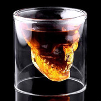 4 Size Creative Designer Skull Head Shot Glass Party Transparent Champagne Cocktails Wine Cup Doomed Drinkware Halloween Gift