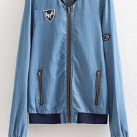 Blue Pockets Patch Zippeer Front Jacket