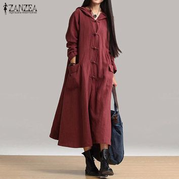 ZANZEA Women Vintage Dress 2017 Spring Autumn Casual Loose Long Dresses Ladies V Neck Long Sleeve Hooded Solid Cotton Vestidos