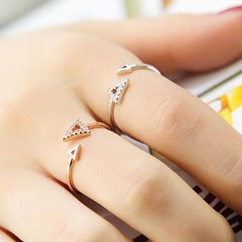 Shiny Stylish Gift New Arrival Jewelry Hollow Out Geometric Rhinestone Adjustable Ring [6586146247]