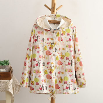 Owl Print Hooded Pocket Long Sleeve Drawstring Hem Jacket