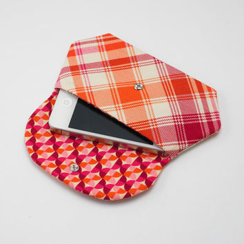 Cell Phone Wallet, iPhone / iPod / Camera Pouch, Snap Clutch Purse in Orange and Purple Plaid
