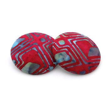 Oversize Dark Pink and Blue African Batik Button Earrings