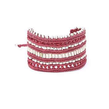 Red Macrame Silver Beaded Bracelet
