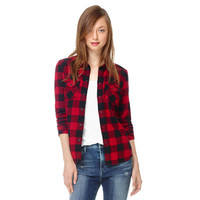 Red Plaid Long Sleeve Shirt Collar Blouse