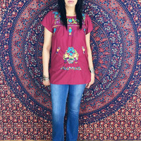Vintage 60s 70s Burgundy Mexican Hand Embroidered Oaxacan Blouse Peasant Top S