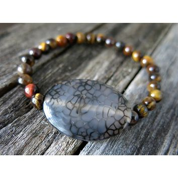Gemstone Stack Bracelet - Dragon Vein Agate and Brown Tiger Eye Semi Precious - Amber Brown Spider Web Agate - Stackable Stretch