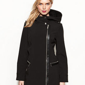 MICHAEL Michael Kors Coat, Hooded Faux-Leather-Trim Soft-Shell - Coats - Women - Macy's