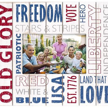 Malden International Designs Old Glory Silkscreen Words Distressed Routed Wood Picture Frame, 4x6, Red/White/Blue