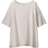 WOMEN MODAL LINEN SHORT SLEEVE BOXY T-SHIRT | UNIQLO