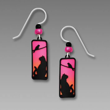 Sienna Sky Earrings - Cat and Tree Silhouette on Sunset Background