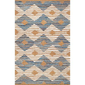 nuLoom Hand Braided Marla Denim And Jute Diamonds Area Rug