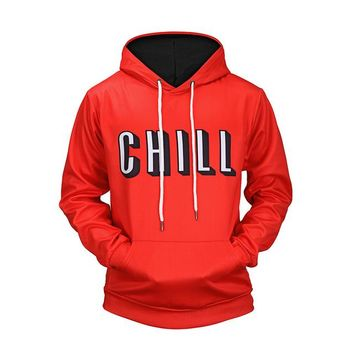 Mens Netflix Style Chill Pullover Hoodie