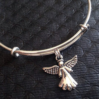 Double Sided Angel Charm Silver Expandable Charm Bracelet Adjustable Bangle Gift Angel Jewelry Inspirational