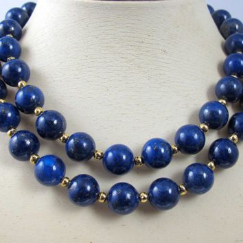 "Vintage Lapis Bead Necklace 14K Yellow Gold Bead Spacers 30"" Inches 12.0mm Lapis Lazuli"